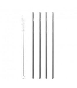 Set of Straws in Steel - Straight - Qwetch |Yumibio