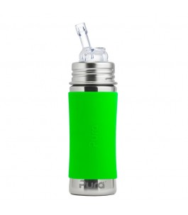 Bottle stainless steel 325 ml with drinking Straw - Green - Pure | Yumibio